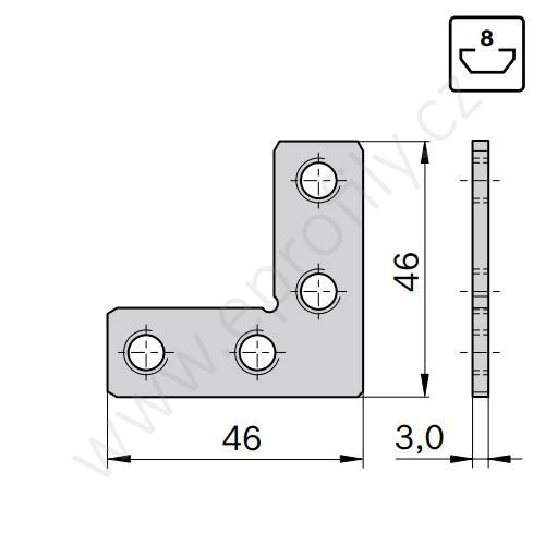 2D rohová spojka, ESD, 3842535627, N8, (1ks)