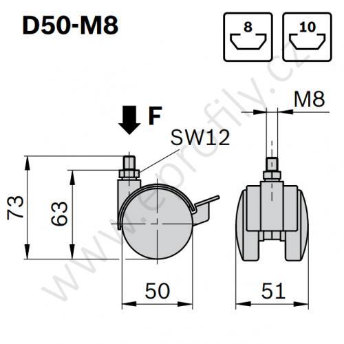 Kolečko dvojité, ESD, 3842535670, D50-M8, (1ks)