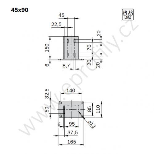 Patka profilové stojky, pozink., ESD, 3842536207, 45x90, (1ks)