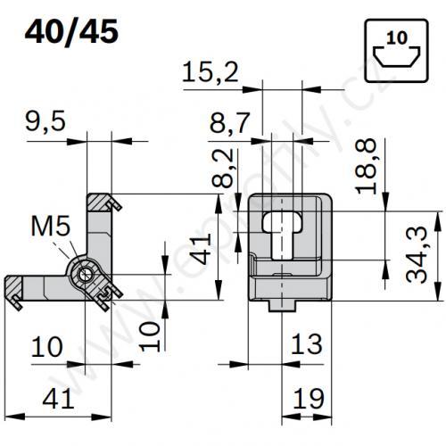 Variofix úhelník se závitem, 3842536491, 40/45 N10, Balení (10ks)