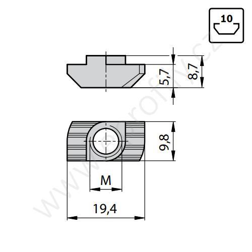 Matice T do drážky - nerez, ESD, 3842536603, N10 M8, (1ks)