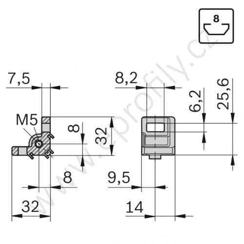Variofix úhelník se závitem, SET, 3842536671, 30x30 N8, (1ks)