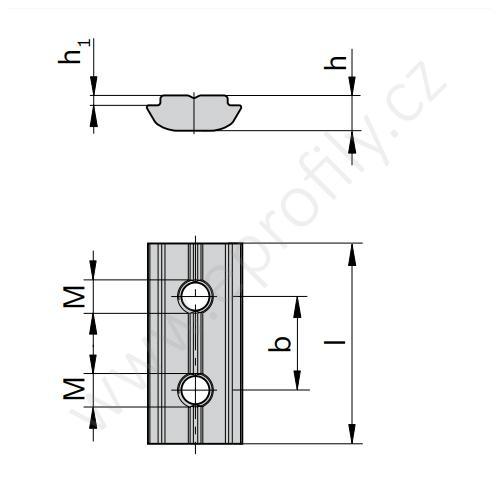 Kámen do drážky se závitovým kolíkem , 3842536673, N6 M4, (1ks)