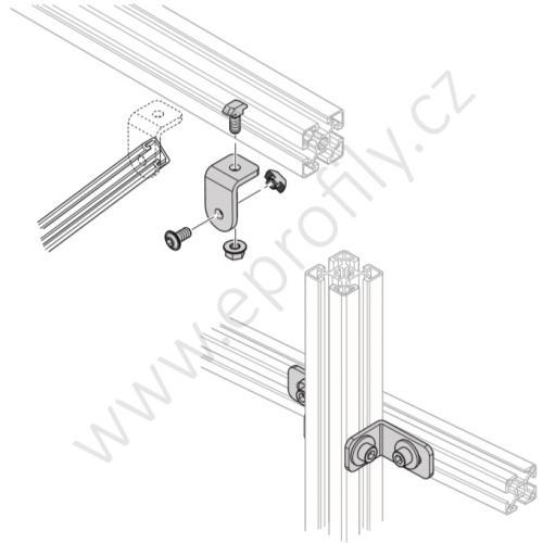 Spojovací úhelník 90° ocelový - SET, ESD, 3842536729, N10/N10, (1ks)