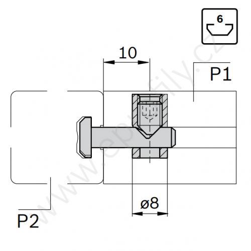 Rychlospojka pro kolmý spoj profilů, ESD, 3842537013, N6/N6; 0°/90°, Balení (10ks)