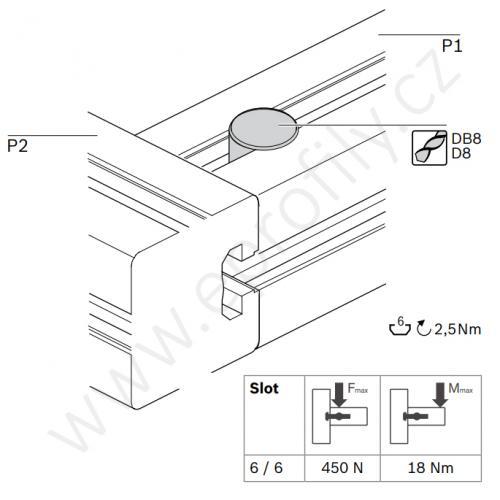 Rychlospojka pro kolmý spoj profilů, ESD, 3842537013, N6/N6; 0°/90°, (1ks)