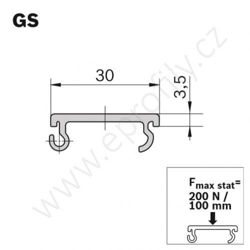 Kluzná lišta, ESD, 3842537803, GS, Lean, 3000 mm, (1ks)