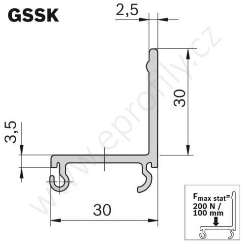 Kluzná lišta s bočním vedením, ESD, 3842537807, GSSK, Lean, 3000 mm, (1ks)