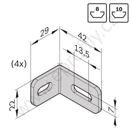 Spojovací úhelník 90° ocelový - SET, ESD, 3842537862, N8/N10, (1ks)