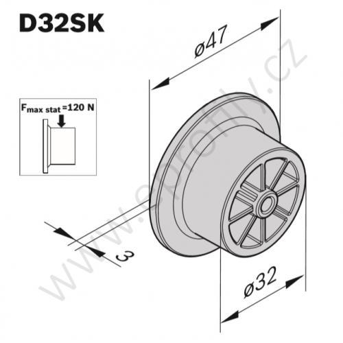 Kolečko černé, ESD, 3842537965, D32SK, (1ks)