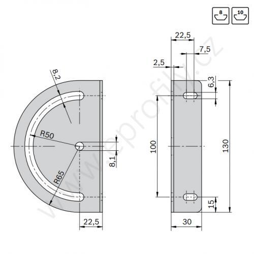 Výkyvné upevnění s upínací páčkou, 180°, ESD, 3842538276, N10/N8,10, (1ks)