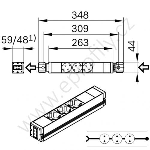 Zásuvková lišta, 3842539842, 16 A/ 230 V, (1ks)