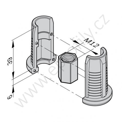Závitové pouzdro (PA), ESD, 3842541185, D28L, (1ks)