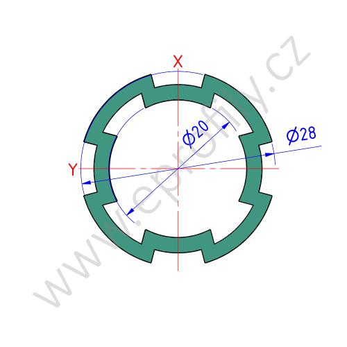Hliníková konstrukční trubka ES, 3842541211, D28L, Balení (50ks)
