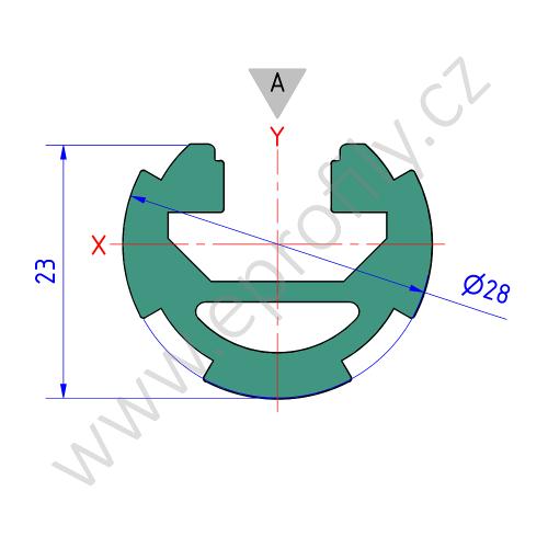 Hliníková konstrukční trubka ES s drážkou, 3842541213, D28 L Nut 10, Balení (20ks)