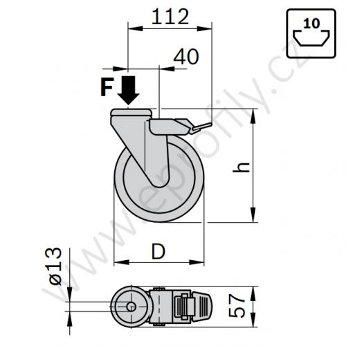 Kolečko otočné s brzdou, 3842541226, D80, (1ks)
