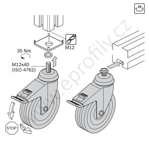 Kolečko otočné s brzdou, ESD, 3842541230, D80, (1ks)