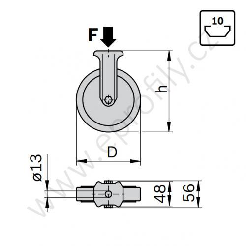 Kolečko pevné, ESD, 3842541242, D80, (1ks)