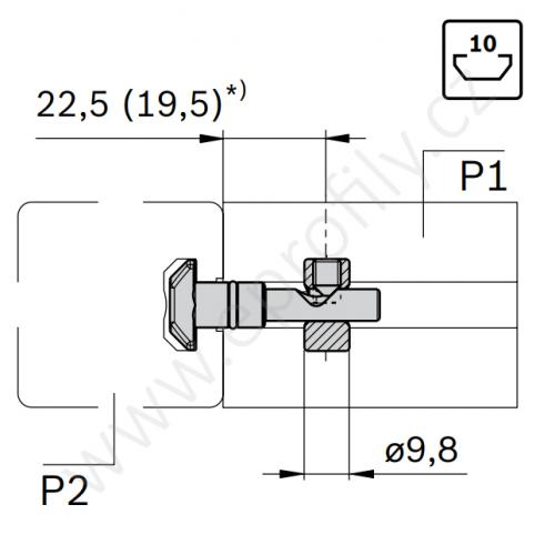 Rychlospojka pro kolmý spoj profilů, ESD, 3842541412, N10/N10; 0°;D=9,8, Balení (10ks)