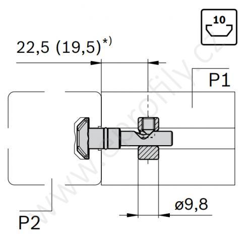 Rychlospojka pro kolmý spoj profilů, ESD, 3842541412, N10/N10; 0°;D=9,8, (1ks)
