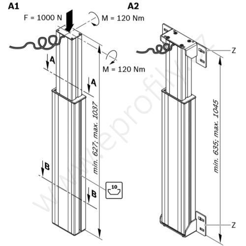 Zdvihací noha (modul) s montážními úhelníky, 3842542211, zdvih 410 mm, (1ks)