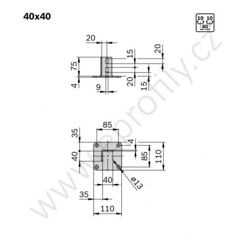 Patka profilové stojky, pozink., ESD, 3842542667,  40x40, (1ks)