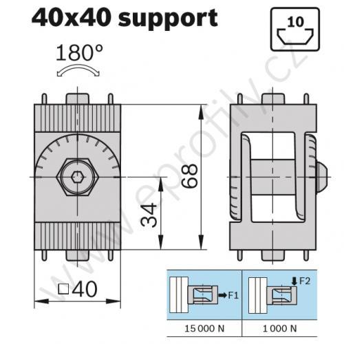 Kloub vyztužený, ESD, 3842543402, 40x40, (1ks)