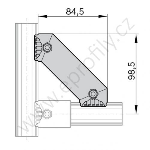 45° podpěra, ESD, 3842548118, D28L, (1ks)