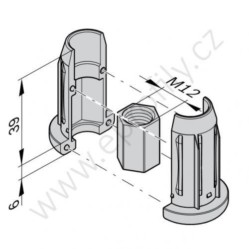 Závitové pouzdro (Zn), ESD, 3842548119, D28L, (1ks)