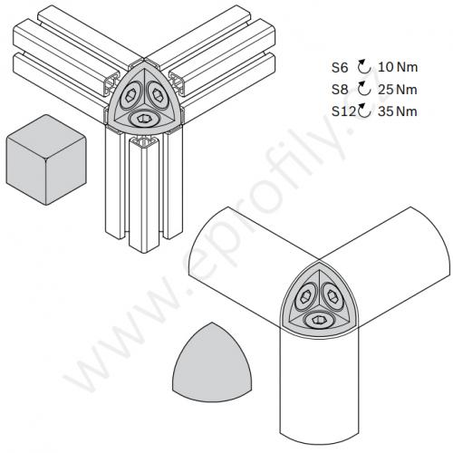 Hranatá krytka rohové spojky, černá, ESD, 3842548721, R30x30, (1ks)