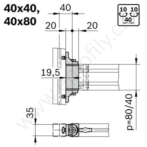 Otočný kloub, ESD, 3842554406, 40x80, (1ks)