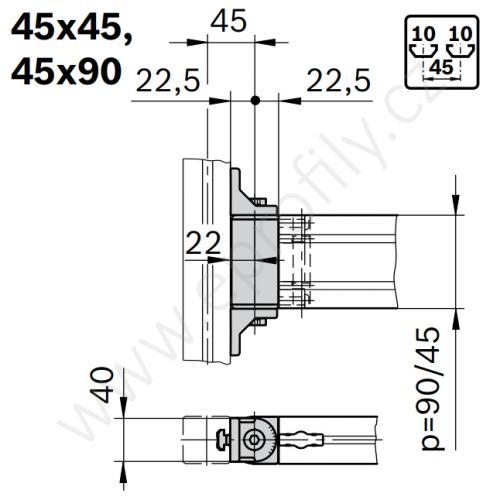 Otočný kloub, ESD, 3842554408, 45x45, (1ks)