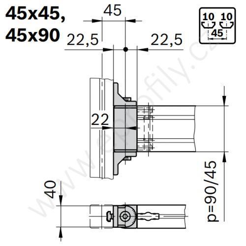 Otočný kloub, ESD, 3842554410, 45x90, (1ks)