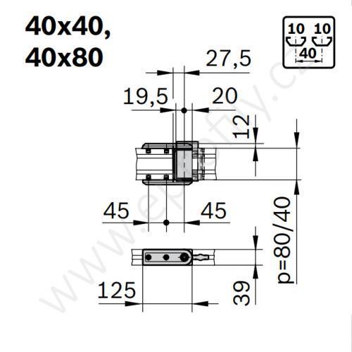 Podpůrný, otočný kloub, ESD, 3842554422, 40x80, (1ks)