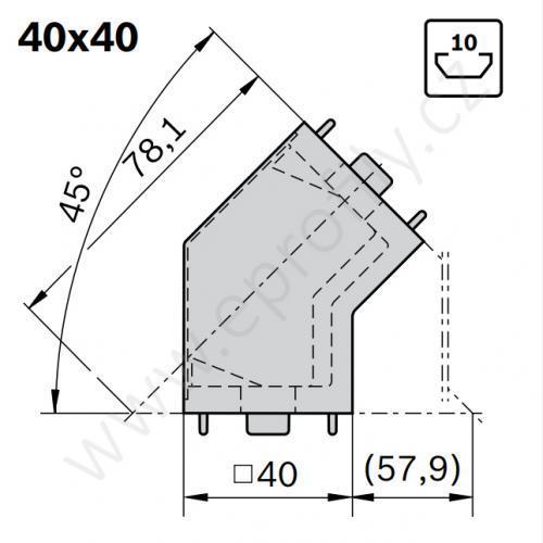 45° spojka, ESD, 3842554449, 40x40, (1ks)