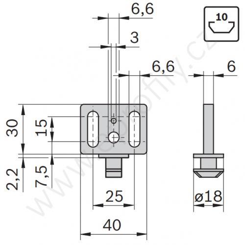 Panelový kluzák, 3842555226, N10, (1ks)