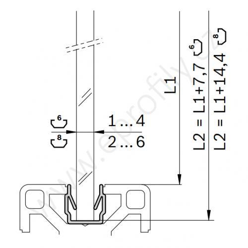 Zasklívací profil, 3842555274, N8, 2000 mm, (1ks)