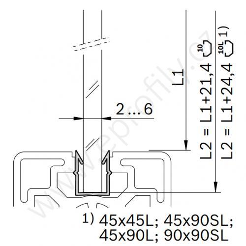 Zasklívací profil, 3842555276, N10, 2000 mm, (1ks)
