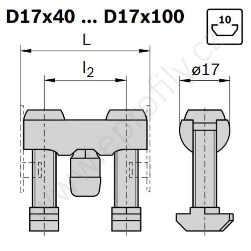 Svorníková spojka, ESD, 3842555586, D17x60 N10/N10, (1ks)