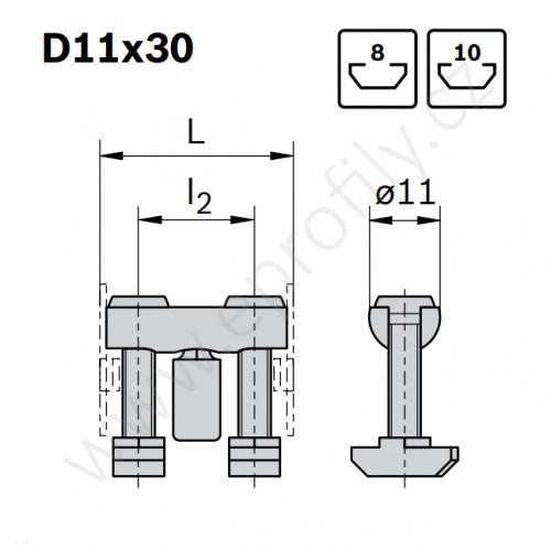 Svorníková spojka, ESD, 3842555590, D11x30 N8/N10, (1ks)