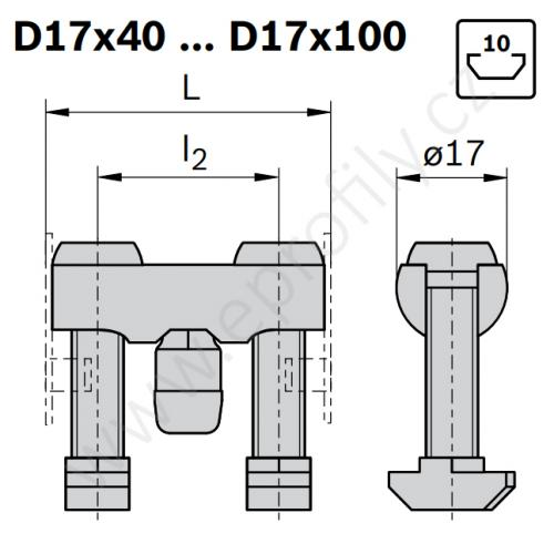 Svorníková spojka, ESD, 3842555592, D17x100 N10/N10, Balení (10ks)