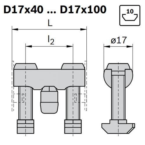 Svorníková spojka, ESD, 3842555594, D17x40 N10/N10, (1ks)