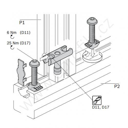 Svorníková spojka, ESD, 3842555598, D17x80 N10/N10, (1ks)