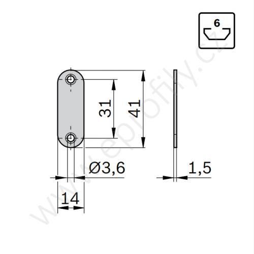 Magnetický zámek do profilu , 3842558323, N6, (1ks)