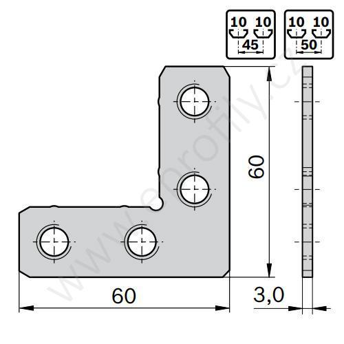 2D rohová spojka, ESD, 3842563228, N10, (1ks)