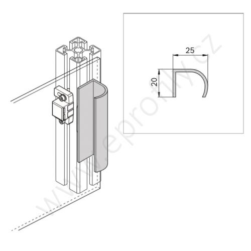 Hliníkový profil - madlo, 3842990111, 20x25, Celá tyč