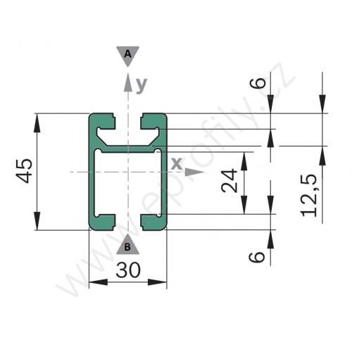 Profil - kolejnice, 3842992946, 30x45C, Řezaný profil