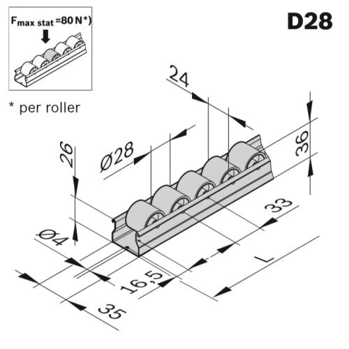 Rolnová dráha XLean, ESD, 3842993431, D28, Řezaný profil