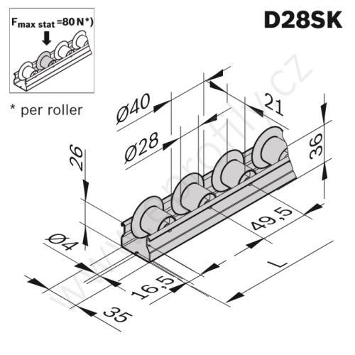 Rolnová dráha XLean, ESD, 3842993432, D28SK, Řezaný profil