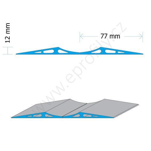 Blok parkovací podlahový aluminiový vysoký - vysoký, PAB-6060, 2x (12x77x6000), Celá tyč